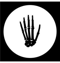 One human hand palm bones black icon eps10 vector