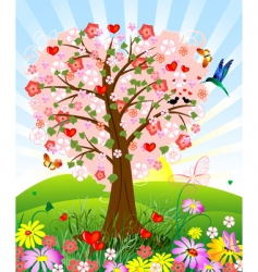 romantic tree vector image