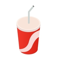 Soda cup isometric 3d icon vector
