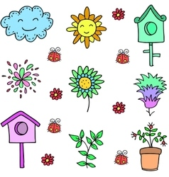 Spring colorful doodles vector