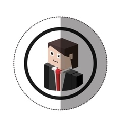 Sticker lego with portrait man with formal suit vector