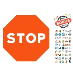 Stop Sign Icon with 2017 Year Bonus Pictograms vector image vector image