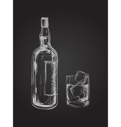 Whiskey bottle and glass hand drawn drink vector