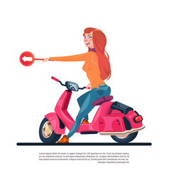 Young girl riding electric scooter hold road sign vector