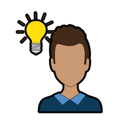 young man with bulb avatar character vector image