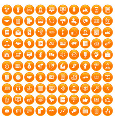 100 dialog icons set orange vector
