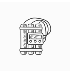 Dynamite and detonator sketch icon vector