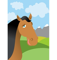 Horse and summer landscape head animal in nature vector