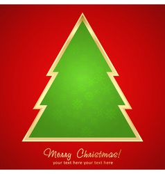 Christmas greeting card with cartoon xmas tree vector