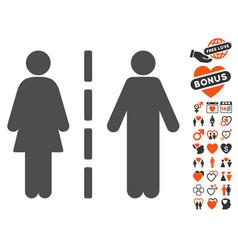 divorce line icon with valentine bonus vector image