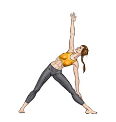 Girl in a yoga triangle pose utthita trikonasana vector