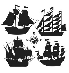 Set of simple sketch old sailboats vector
