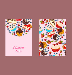 Cartoon style flyer template with muffins and vector