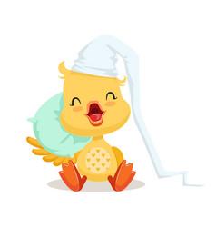 sweet yellow duckling sleeping on a pillow emoji vector image