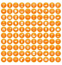 100 dialog icons set orange vector