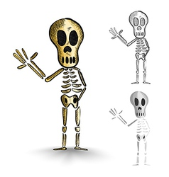 Halloween monsters isolated spooky skeletons set vector