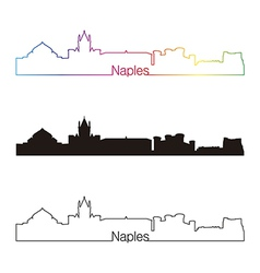 Naples skyline linear style with rainbow vector image