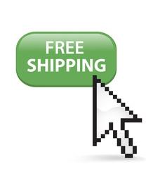 Free shipping button click vector