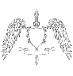 Composition with swords wings badge and ribbon vector