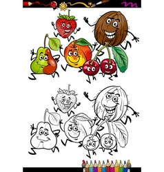 Fruits group cartoon coloring page vector