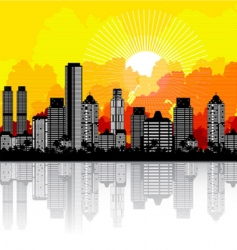 City and sunrise vector