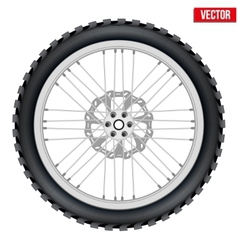 Motorbike enduro wheel with brake rotor and tire vector