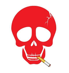 A human skull smoking a cigarette vector