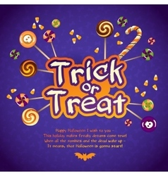 Happy halloween trick or treat greeting card with vector