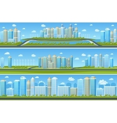 Urban landscape set with modern city vector