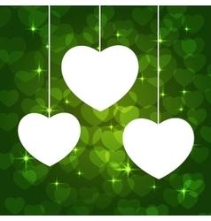 hearts frame green vector image