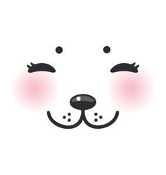Kawaii funny albino animal white muzzle with pink vector
