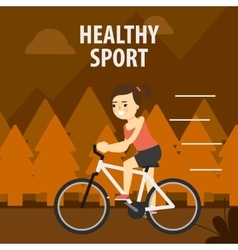Outdoor sport girl cycling on the street vector