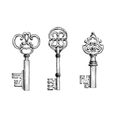 Vintage medieval keys sketches set vector