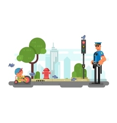 Police officer on the city street vector