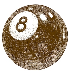 Engraving billiards 8 ball vector
