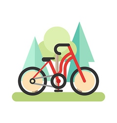 Flat style of red bicycle in the forest cycling in vector