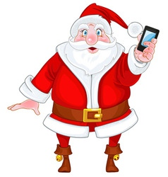 Santa claus with a smart phone vector