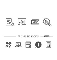 Analysis line icons chart report and audit vector