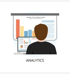 Analytics icon flat design concept vector