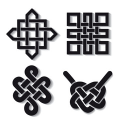 Auspicious endless knots setbuddhist symbolblack vector