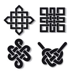 Auspicious endless knots setbuddhist symbolblack vector