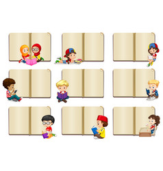 Blank book templates with kids vector