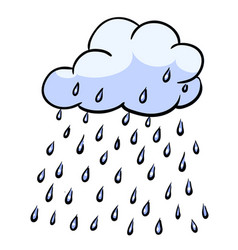 Cartoon image of rain icon cloud rain symbol vector