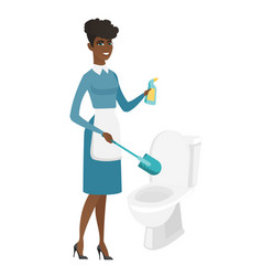 Cleaner in uniform cleaning toilet bowl vector