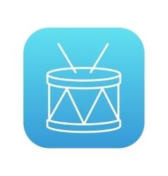 Drum with sticks line icon vector image