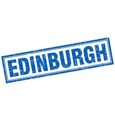 Edinburgh blue square grunge stamp on white vector