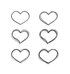 Hand-drawn black heart shapes set vector image