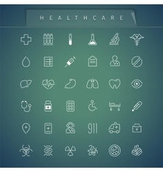 Healthcare Thin Icons Set vector image vector image