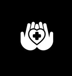 heart care icon flat design vector image