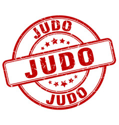 Judo red grunge round vintage rubber stamp vector